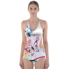 Butterfly Vector Art Cut Out One Piece Swimsuit