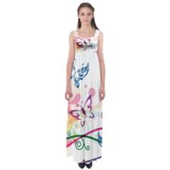 Butterfly Vector Art Empire Waist Maxi Dress