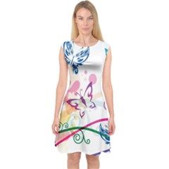 Butterfly Vector Art Capsleeve Midi Dress