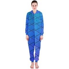 Blue Pattern Plain Cartoon Hooded Jumpsuit (ladies)