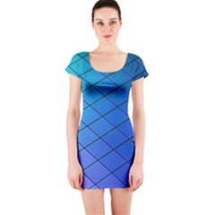 Blue Pattern Plain Cartoon Short Sleeve Bodycon Dress