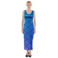 Blue Pattern Plain Cartoon Fitted Maxi Dress