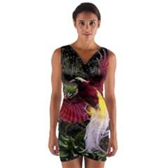 Cendrawasih Beautiful Bird Of Paradise Wrap Front Bodycon Dress