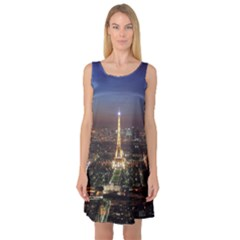 Paris At Night Sleeveless Satin Nightdress