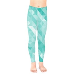 Bright Blue Turquoise Polygonal Background Kids  Legging