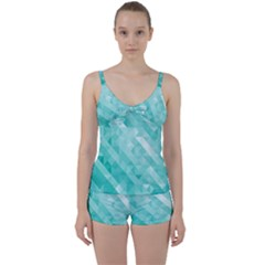 Bright Blue Turquoise Polygonal Background Tie Front Two Piece Tankini