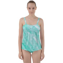 Bright Green Turquoise Geometric Background Twist Front Tankini Set