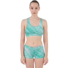 Bright Green Turquoise Geometric Background Work It Out Sports Bra Set