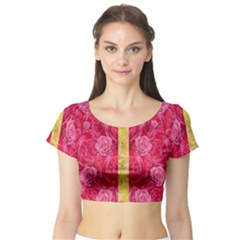 Rose And Roses And Another Rose Short Sleeve Crop Top (tight Fit)