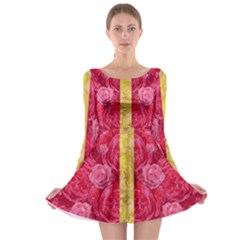 Rose And Roses And Another Rose Long Sleeve Skater Dress