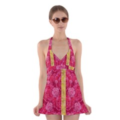 Rose And Roses And Another Rose Halter Swimsuit Dress