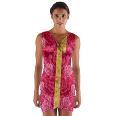 Rose And Roses And Another Rose Wrap Front Bodycon Dress