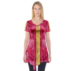 Rose And Roses And Another Rose Short Sleeve Tunic