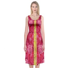 Rose And Roses And Another Rose Midi Sleeveless Dress
