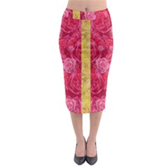 Rose And Roses And Another Rose Midi Pencil Skirt