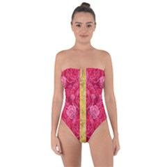 Rose And Roses And Another Rose Tie Back One Piece Swimsuit