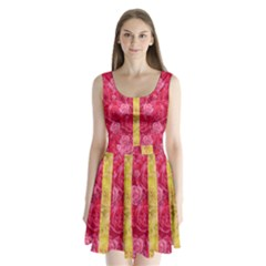 Rose And Roses And Another Rose Split Back Mini Dress