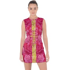 Rose And Roses And Another Rose Lace Up Front Bodycon Dress