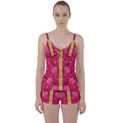 Rose And Roses And Another Rose Tie Front Two Piece Tankini