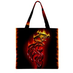 Dragon Fire Zipper Grocery Tote Bag
