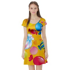 Sweets And Sugar Candies Vector  Short Sleeve Skater Dress