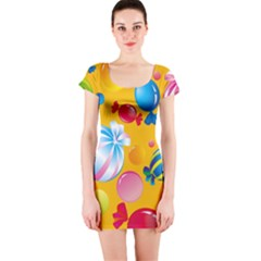 Sweets And Sugar Candies Vector  Short Sleeve Bodycon Dress