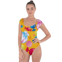 Sweets And Sugar Candies Vector  Short Sleeve Leotard