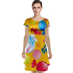 Sweets And Sugar Candies Vector  Cap Sleeve Nightdress