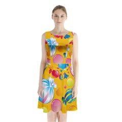 Sweets And Sugar Candies Vector  Sleeveless Waist Tie Chiffon Dress