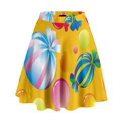 Sweets And Sugar Candies Vector  High Waist Skirt