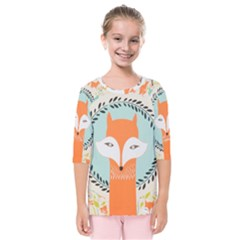 Foxy Fox Canvas Art Print Traditional Kids  Quarter Sleeve Raglan Tee