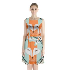 Foxy Fox Canvas Art Print Traditional Sleeveless Waist Tie Chiffon Dress
