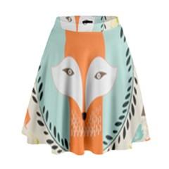 Foxy Fox Canvas Art Print Traditional High Waist Skirt