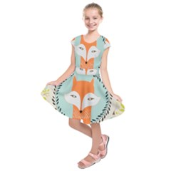 Foxy Fox Canvas Art Print Traditional Kids  Short Sleeve Dress