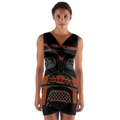 Traditional Northwest Coast Native Art Wrap Front Bodycon Dress