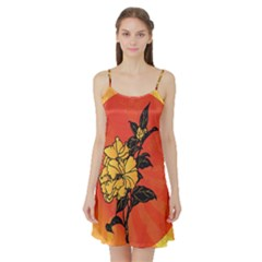 Vector Asian Flowers Satin Night Slip