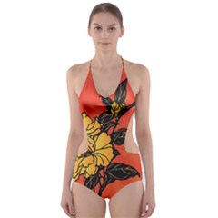 Vector Asian Flowers Cut Out One Piece Swimsuit