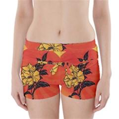 Vector Asian Flowers Boyleg Bikini Wrap Bottoms
