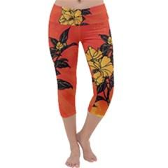 Vector Asian Flowers Capri Yoga Leggings