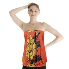 Vector Asian Flowers Strapless Top