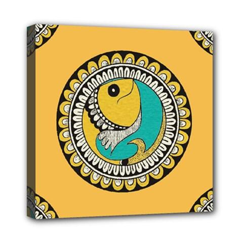 Madhubani Fish Indian Ethnic Pattern Mini Canvas 8  X 8