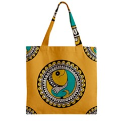 Madhubani Fish Indian Ethnic Pattern Zipper Grocery Tote Bag