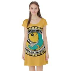Madhubani Fish Indian Ethnic Pattern Short Sleeve Skater Dress