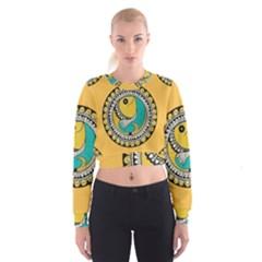 Madhubani Fish Indian Ethnic Pattern Cropped Sweatshirt