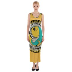 Madhubani Fish Indian Ethnic Pattern Fitted Maxi Dress