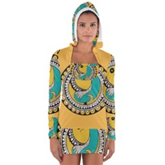 Madhubani Fish Indian Ethnic Pattern Long Sleeve Hooded T Shirt