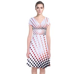 Radial Dotted Lights Short Sleeve Front Wrap Dress