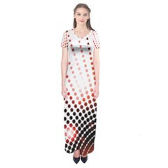 Radial Dotted Lights Short Sleeve Maxi Dress
