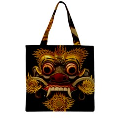 Bali Mask Zipper Grocery Tote Bag