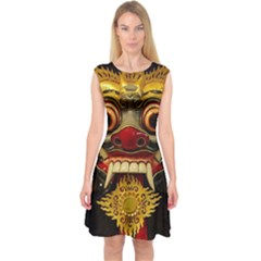 Bali Mask Capsleeve Midi Dress